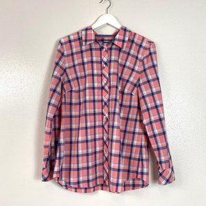 Talbots Pink Plaid Button Up Shirt Size Large NWT